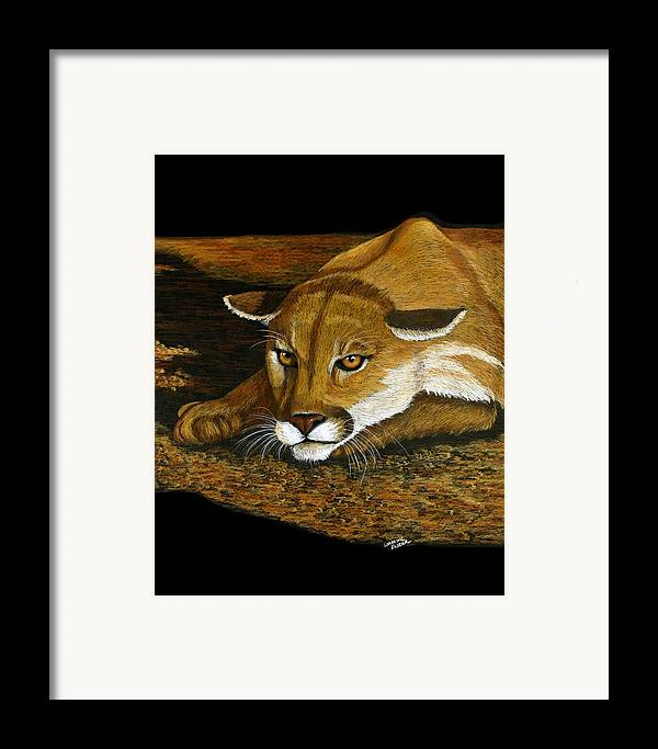 Animal Framed Print featuring the mixed media Ready To Pounce by Lorraine Foster