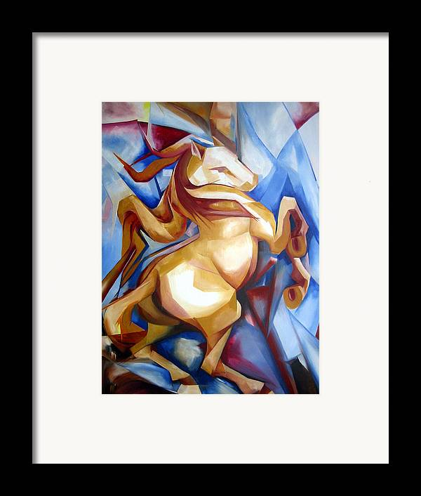 Horse Framed Print featuring the painting Rearing Horse by Leyla Munteanu