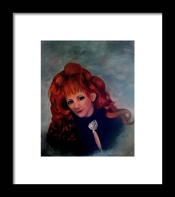 Celebrity Portrait Framed Print featuring the painting Reba Mcentire by Mary Kaser