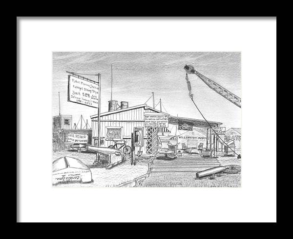 Boat Yard Framed Print featuring the drawing Rebel Marine by Vic Delnore