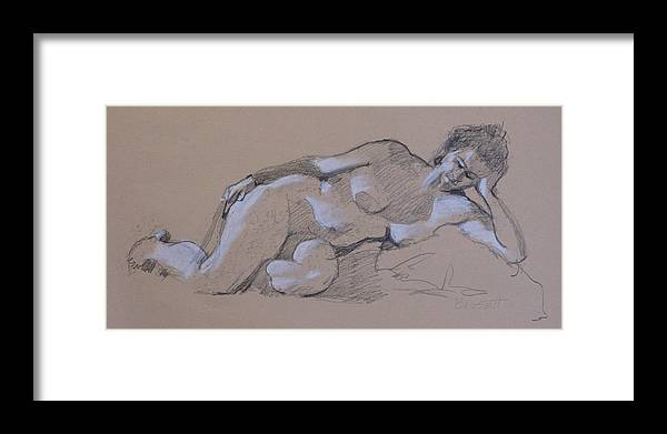Life Framed Print featuring the drawing Reclining Nude 2 by Robert Bissett