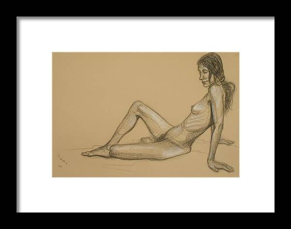 Realism Framed Print featuring the drawing Reclining Nude 3 by Donelli DiMaria