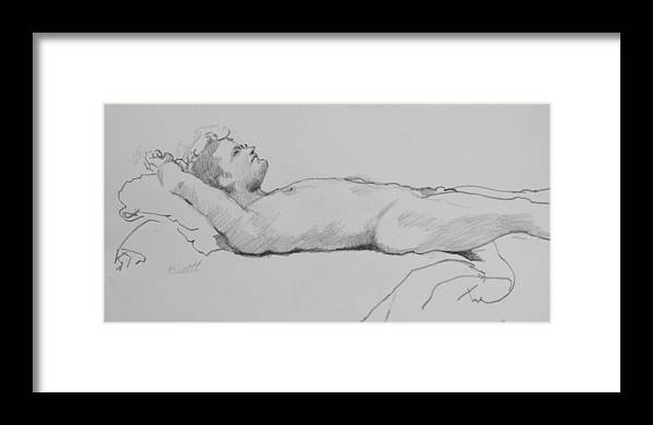 Life Framed Print featuring the drawing Reclining Nude 3 by Robert Bissett