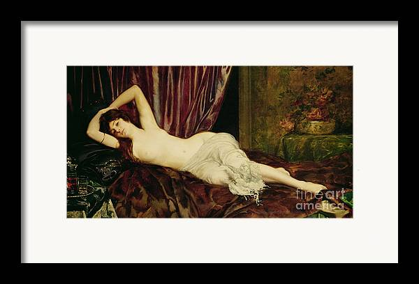 Reclining Framed Print featuring the painting Reclining Nude by Henri Fantin Latour