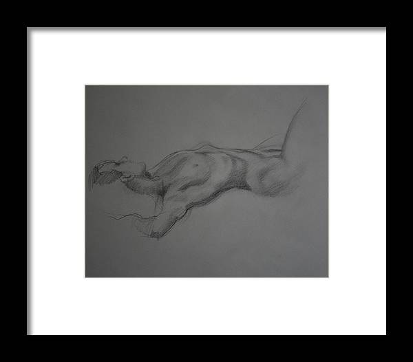 Charcoal Drawing Framed Print featuring the drawing Reclining Nude by Michael Vires
