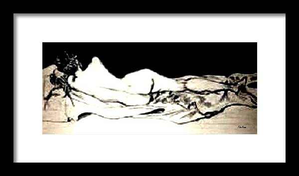 Nude Framed Print featuring the drawing Reclining Nude by Peggy De Haan