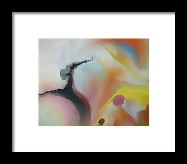 Abstract Framed Print featuring the painting Recreation by Peter Shor