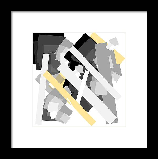 Yellow Framed Print featuring the digital art Rectangles With Yellow Accent by Ewelina Karbownik