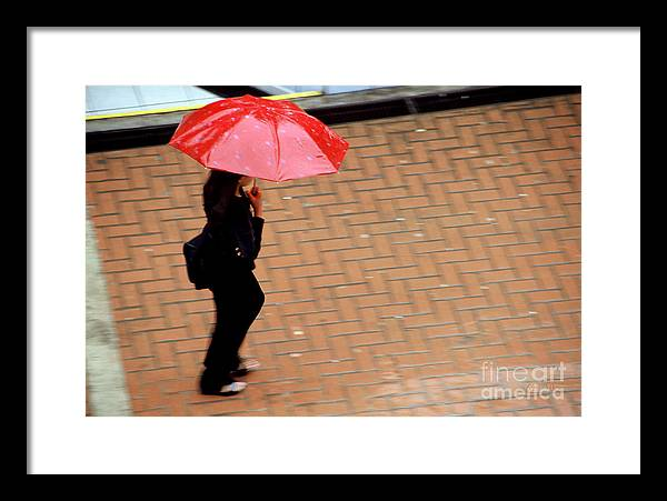 Rain Framed Print featuring the photograph Red 1 - Umbrellas Series 1 by Carlos Alvim