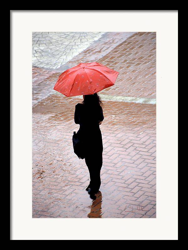 Rain Framed Print featuring the photograph Red 2 - Umbrellas Series 1 by Carlos Alvim