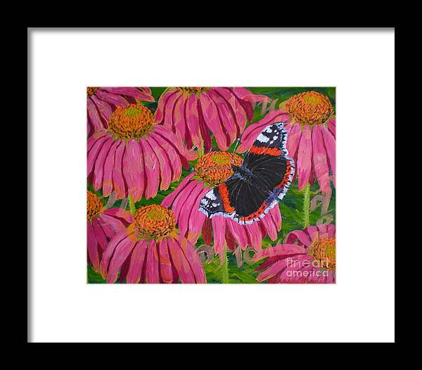 Red Admiral Butterfly Framed Print featuring the painting Red Admiral Butterfly by Teresa Marie Staal Cowley