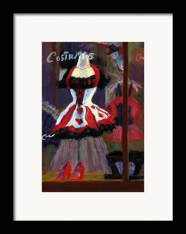 Red Black White Jester Costume Mardi Gras Holloween Ritz Exotic Night Store Window Framed Print featuring the painting Red And Black Jester Costume by Cheryl Whitehall