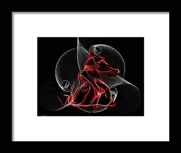 Red And Black Knight Inside The Vortex Of The Game Framed Print