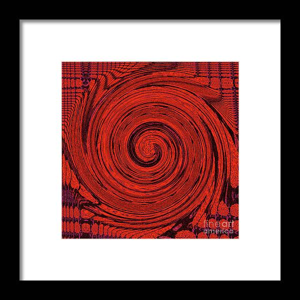 Red Framed Print featuring the digital art Red And Black Swirl - Modern/contemporary Painting by Merton Allen