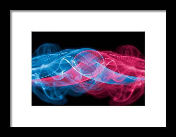 Smoke Framed Print featuring the photograph Red And Blue Smoke by Levin Rodriguez