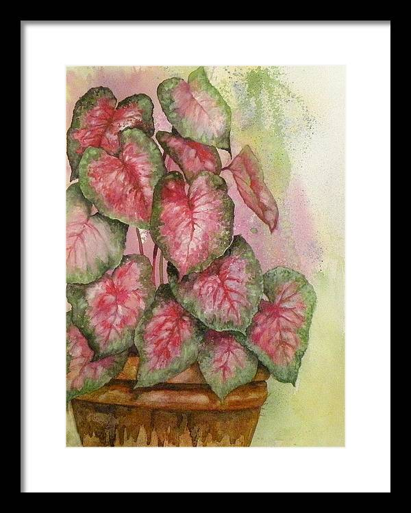 Colored Leaves Framed Print featuring the painting Red And Green For Susan by Wendy Hill
