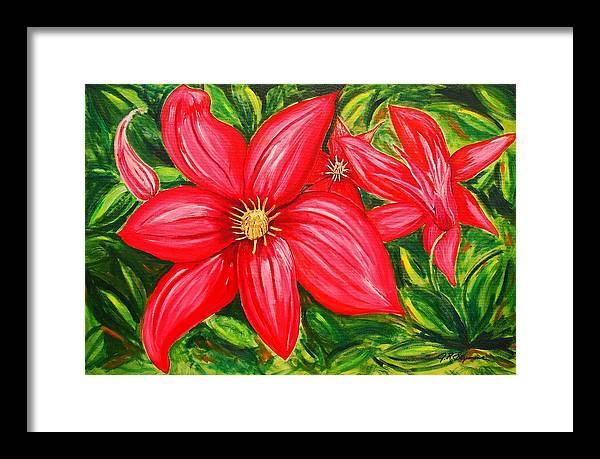 Flower Painting Framed Print featuring the painting Red and Green by J R Seymour