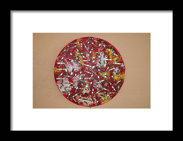 Framed Print featuring the painting Red and Metal by Biagio Civale