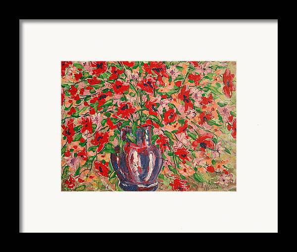 Flowers Framed Print featuring the painting Red And Pink Poppies. by Leonard Holland