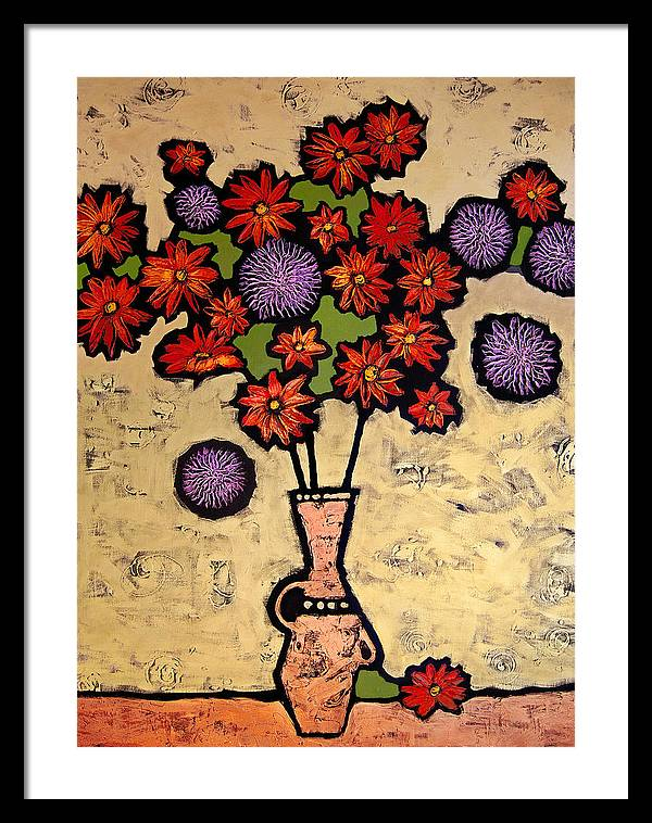 Still Life Framed Print featuring the painting Red And Purple by Farhan Abouassali