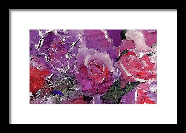 Red Framed Print featuring the digital art Red And Violet Roses by Lisa Kaiser