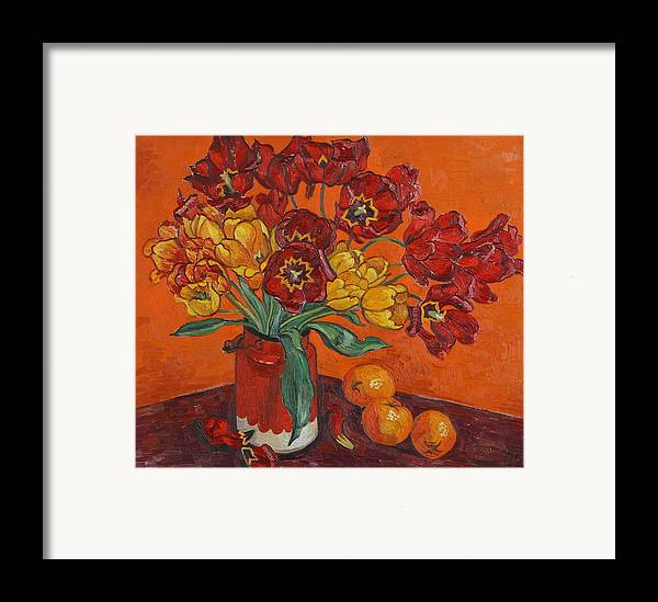 Tulips Framed Print featuring the painting Red And Yellow Tulips And Oranges by Vitali Komarov