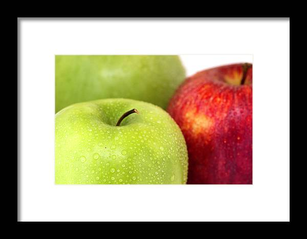 Apple Granny Smith Photographs Framed Print featuring the photograph Red Apple by D Plinth