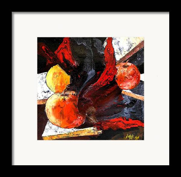 Framed Print featuring the painting Red Apples by Evguenia Men