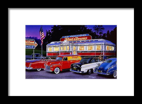 Old Style Framed Print featuring the photograph Red Arrow Diner by MGL Meiklejohn Graphics Licensing