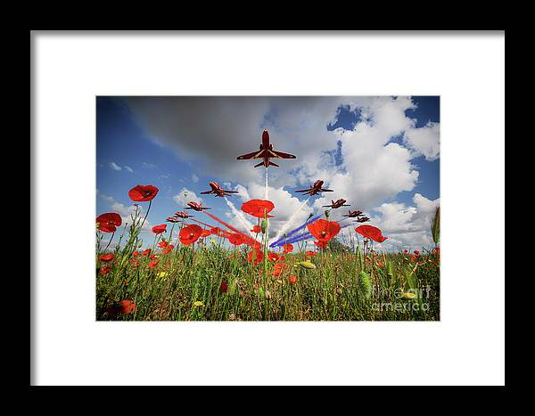 Red Arrows Framed Print featuring the digital art Red Arrows Poppy Fly Past by J Biggadike
