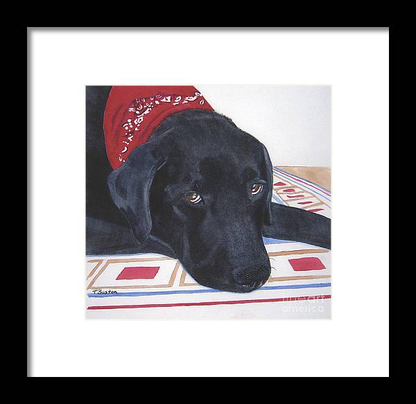 Black Framed Print featuring the painting Red Bandana by Teresa Boston