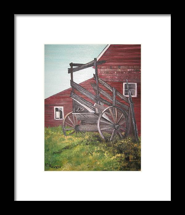 Landscape Framed Print featuring the painting Red Barn And Cattle Ramp by L A Raven