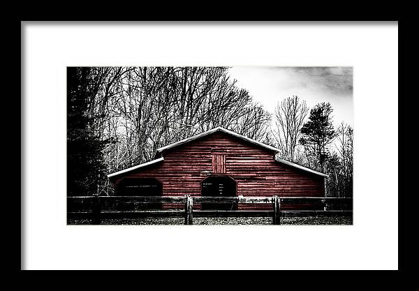 Red Framed Print featuring the photograph Red Barn by Chris Jones