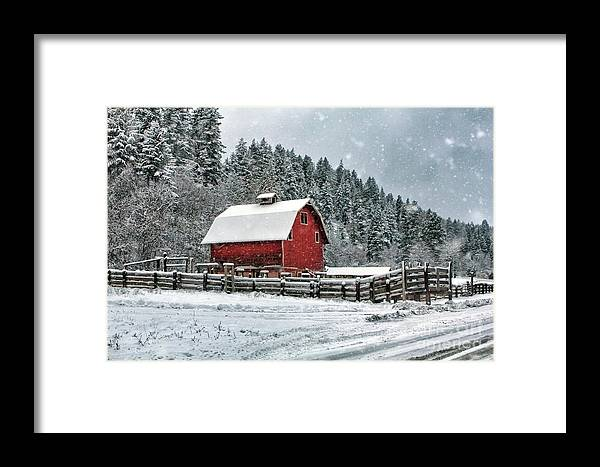 Red Barn Framed Print featuring the photograph Red Barn by Karen Goodwin