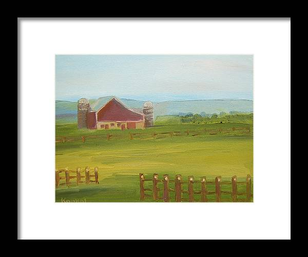 Konkol Framed Print featuring the painting Red Barn by Lisa Konkol