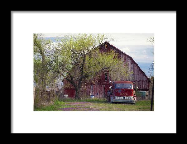 Barn Framed Print featuring the photograph Red Barn Red Truck by Toni Hopper