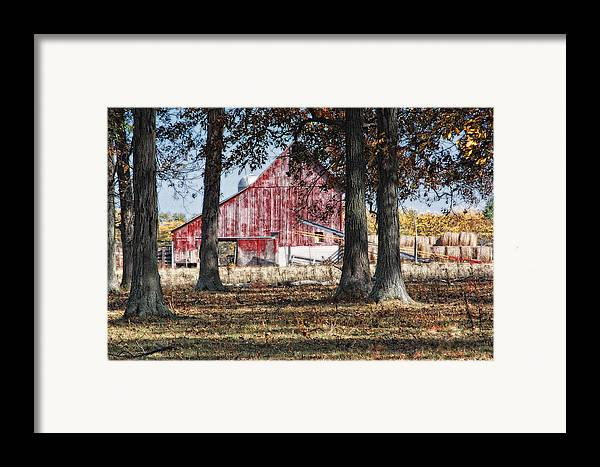 Agriculture Framed Print featuring the photograph Red Barn Through The Trees by Pamela Baker