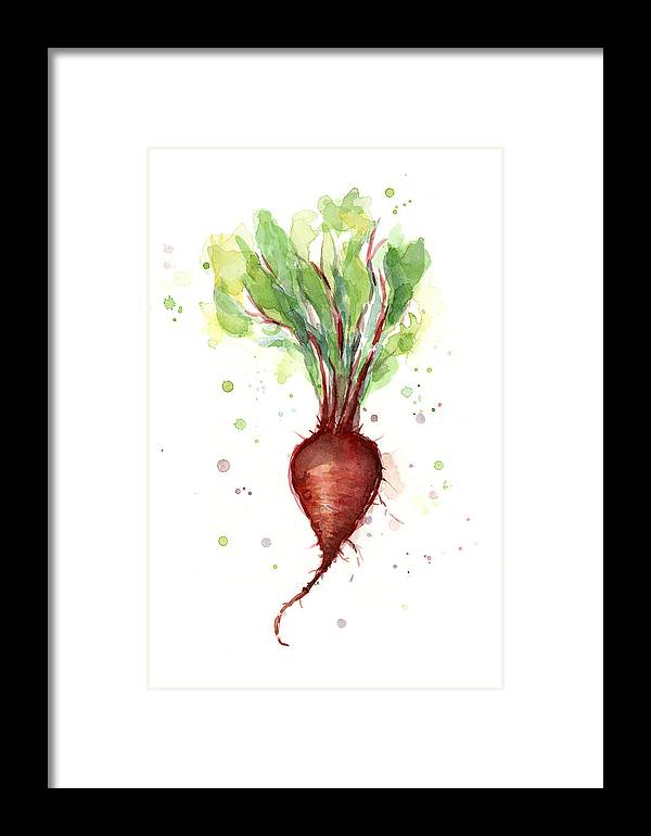 Watercolor Framed Print featuring the painting Red Beet Watercolor by Olga Shvartsur