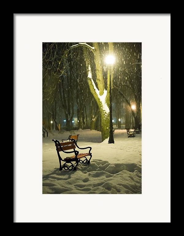 Background Framed Print featuring the photograph Red Bench In The Park by Jaroslaw Grudzinski