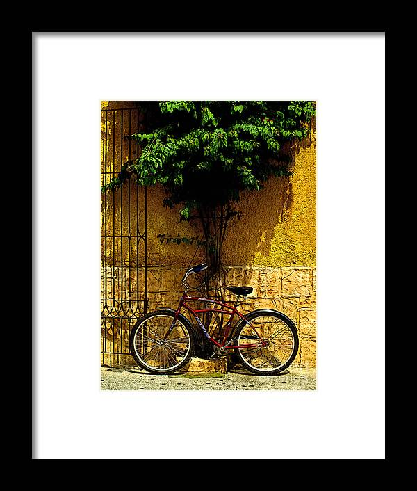 Tlaquepaque Framed Print featuring the photograph Red Bicycle by Mexicolors Art Photography
