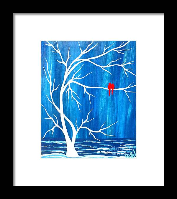 Blue Framed Print featuring the painting Red Birds On Blue by JoNeL Art