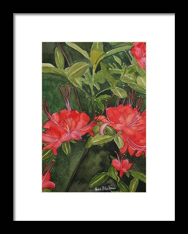 Flowers Framed Print featuring the painting Red Blooms On The Parkway by Jean Blackmer