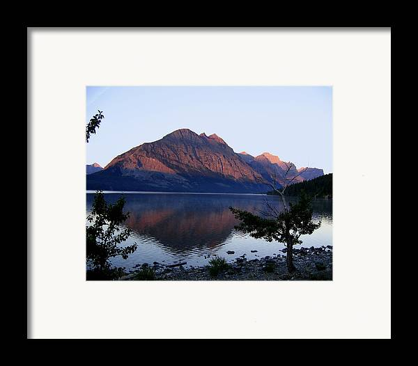 Reflections St. Mary Lake Framed Print featuring the photograph Red Bluffs by Diane Wallace
