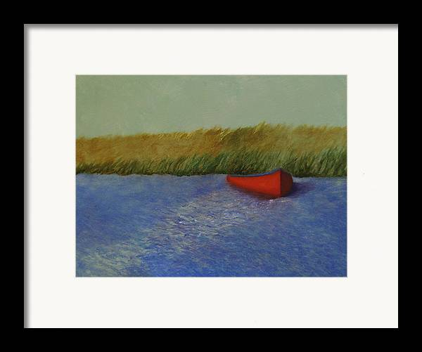 Oil Framed Print featuring the painting Red Boat - Plum Island Basin by Rf Hauver