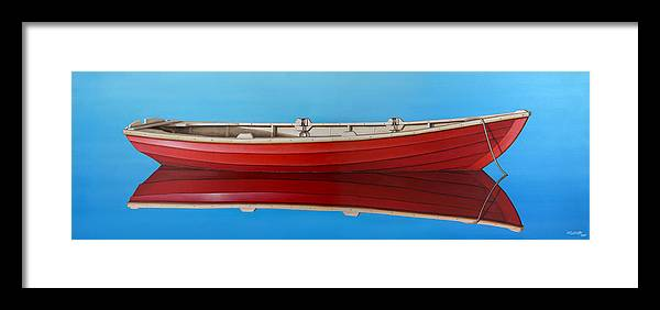 Red Framed Print featuring the painting Red Boat by Horacio Cardozo