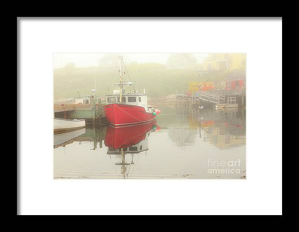 Docked_fishing_boats Framed Print featuring the photograph Red Boat In The Fog by Csaba Demzse