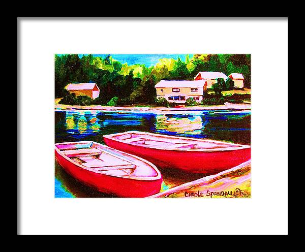 Red Boats Framed Print featuring the painting Red Boats At The Lake by Carole Spandau