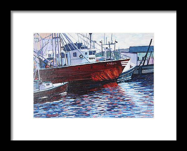 Boats Framed Print featuring the painting Red Boats by Richard Nowak