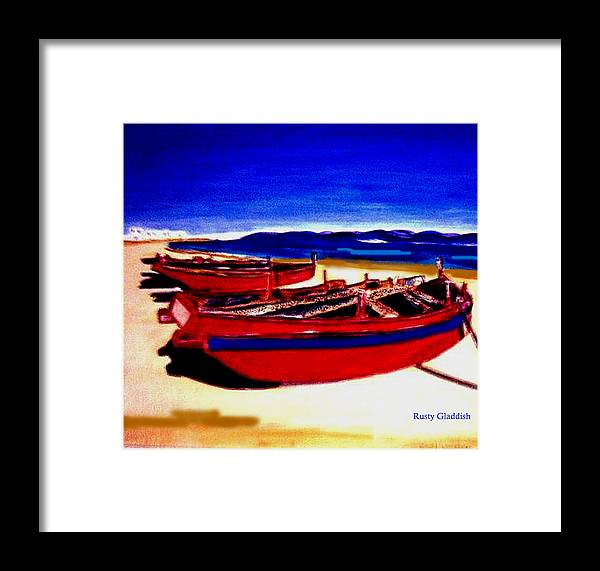 Boats Framed Print featuring the painting Red Boats by Rusty Gladdish