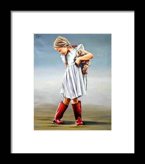 Girl Framed Print featuring the painting Red boots by Natalia Tejera
